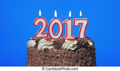 Blowing out new year 2017 candles on a delicious chocolate...