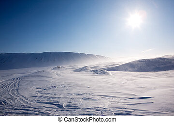 Blowing Snow - Blowing snow in a barren winter mountain ...