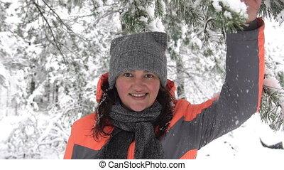 Blowing Snow falling, SLOW MOTION 120fps. Beautiful Joyful...