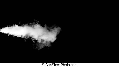 blowing steam with white smoke isolated on black background