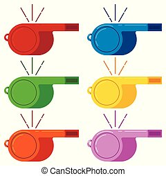 Blowing whistle red, blue, green, yellow, orange, pink color vector icon set isolated on white background.
