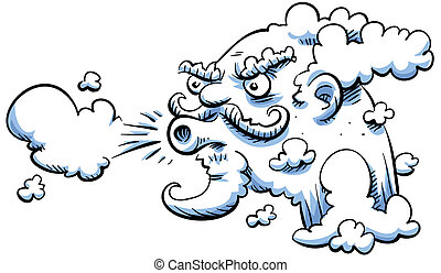 Blowing wind - The cartoon wind blows.