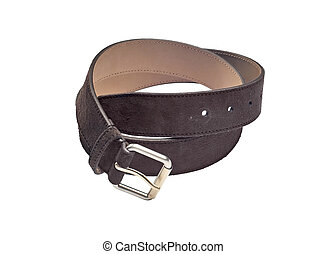 Blown leather belt with buckle isolated on white background