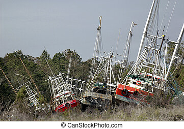 Blown Shrimp Boats - Shrimp boats blown ashore by a major...