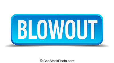 blowout blue 3d realistic square isolated button