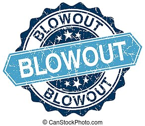 blowout blue round grunge stamp on white
