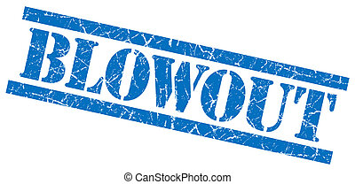 blowout blue square grungy isolated rubber stamp
