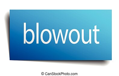 blowout blue square isolated paper sign on white