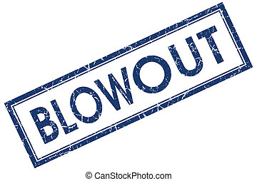 blowout blue square stamp isolated on white background