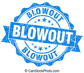 blowout blue vintage isolated seal