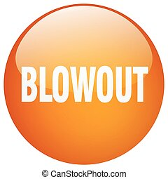 blowout orange round gel isolated push button