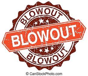 blowout orange round grunge stamp on white
