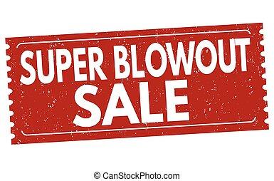 blowout, postzegel, verkoop teken, fantastisch, of