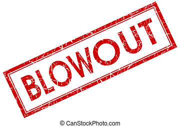 blowout red square stamp isolated on white background