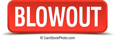blowout red three-dimensional square button isolated on white background