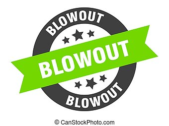 blowout sign. blowout black-green round ribbon sticker
