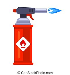 blowtorch with blue flame for construction.