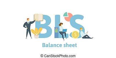 BLS, Balance Sheet. Concept with keywords, letters and icons...