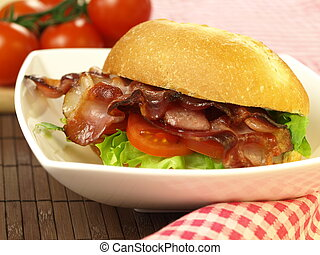 BLT - sandwich for dinner - Delicious bacon, lettuce and...