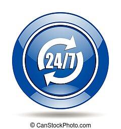 blu, 24h, vettore, lucido, rotondo, icona