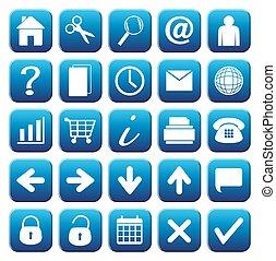 blu, 25, set, web, bottone, icone