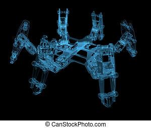 blu, (3d, transparent), robot, xray, bricolage, hexapod
