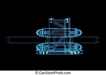 blu, (3d, transparent), tubo, xray, macchinario