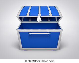 blu, abbondanza, oro, concept., tesoro, chest., isolato, pirata, 3d