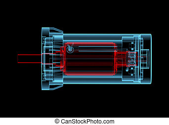 blu, ac, elettrico, (3d, transparent), xray, motore, rosso