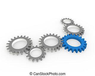 blu, acciaio, chrom, ingranaggio, 3d