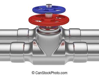 blu, acciaio, tubi per condutture, rosso, valvole