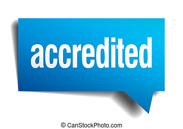 blu, accredited, realistico, carta, bolla discorso, 3d