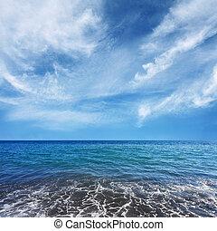 blu, acqua, bello, nubi, mare