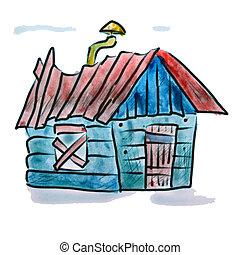 blu, acquarello, casa, figura, isolato, tubo, fondo, bianco, cartone animato, rosso