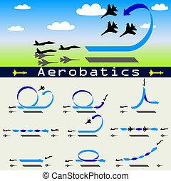 blu, acrobazie aeree, aeroplano, cielo, fondo