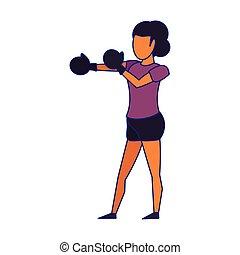 blu, addestramento, donna, pugilato, linee, guanti, idoneità