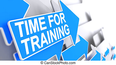 blu, addestramento, -, etichetta, arrow., tempo, 3d.