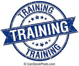 blu, addestramento, grunge, francobollo, isolato, retro, nastro