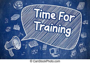 blu, addestramento, -, illustrazione, tempo, chalkboard., cartone animato