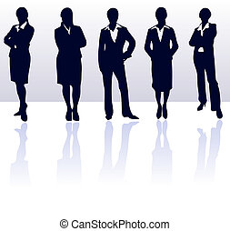 blu, affari donna, gallery., vettore, scuro, silhouette, set, reflections., mio, più