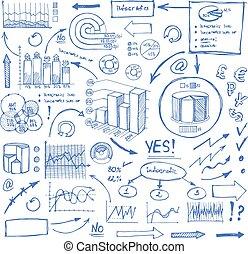 blu, affari, scarabocchiare, frecce, tabelle, bianco