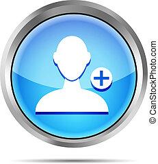 blu, aggiungere, bac, bianco, amico, icona