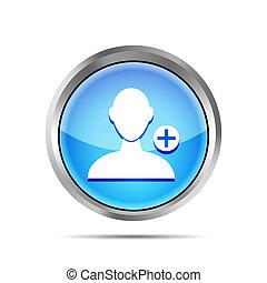 blu, aggiungere, fondo, bianco, amico, icona