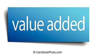 blu, aggiunto, isolato, valore, segno, carta, bianco