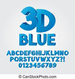 blu, alfabeto, astratto, 3d, plastica