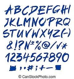 blu, alfabeto, vettore, lettere, alphabet.