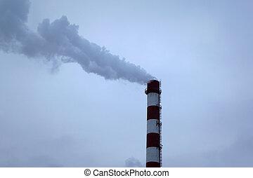 blu, alto, cielo, chp, tubo, fondo, nebbia, smog