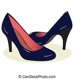blu, alto, scarpe, tallone