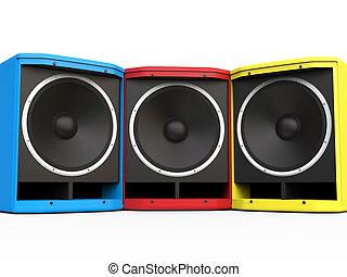 blu, altoparlanti, woofer, giallo, rosso