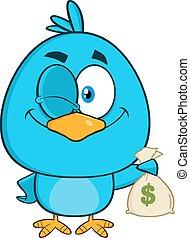 blu, ammiccamento, carattere, uccello, cartone animato